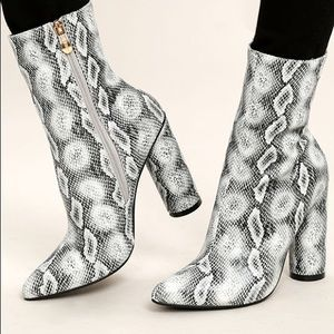 Cape Robbin Boas Snake Print Ankle Boots